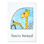 Giraffe Driving a Car. 5x7 Paper Invitation Card