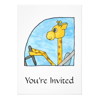 Giraffe Driving a Car. Custom Invite
