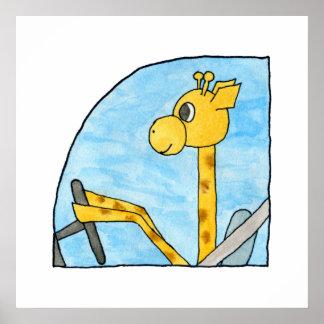 Giraffe Driving a Car. Poster