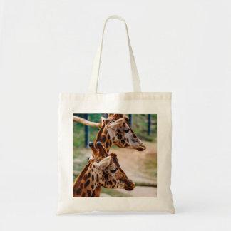 Giraffe Duo Portrait Budget Tote Bag
