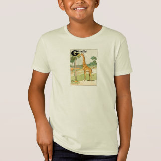 Giraffe Eating Acacia Alphabet Letter T-Shirt