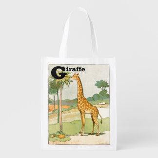Giraffe Eating Acacia in the Desert Grocery Bag