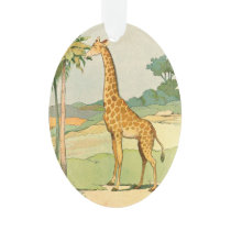Giraffe Eating Acacia in the Desert Ornament