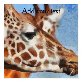 Giraffe eating its food card