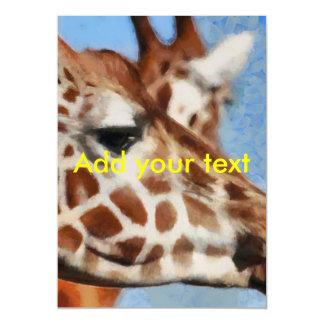Giraffe eating its food magnetic card