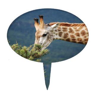 Giraffe eating some leaves cake topper