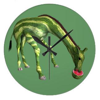 Giraffe Eating Watermelon Large Clock