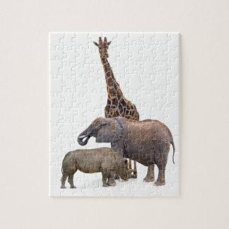 Giraffe, Elephant and Rhino Puzzle