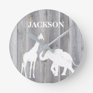 Giraffe & Elephant On Gray Wood Baby Room Clock