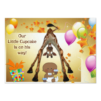 "Giraffe, Ethnic Baby Boy and Cupcakes Baby Shower 5"" X 7"" Invitation Card"