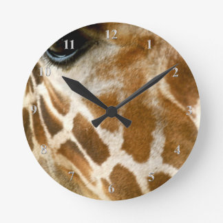 Giraffe Face Closeup | Wild Animals Nature Photo Round Clock