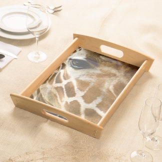 Giraffe Face Closeup | Zoo Animals Nature Photo Serving Tray