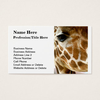 Giraffe Face | Customized Wild Animals Photography Business Card