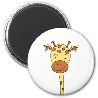 Giraffe Facing Forwards. Cartoon. 2 Inch Round Magnet
