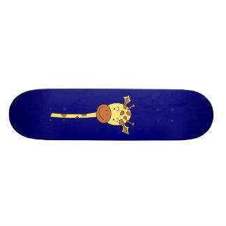 Giraffe Facing Forwards. Cartoon. Skateboard