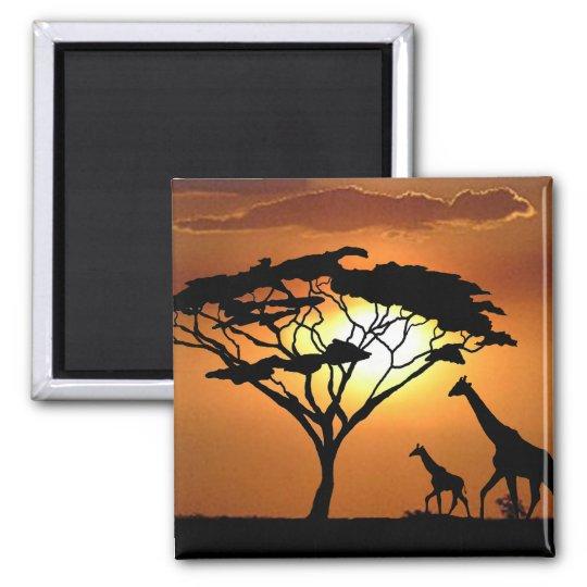 giraffe family 2 inch square magnet