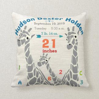 Giraffe Family Baby Boy Birth Record Birth Stats Pillow