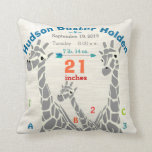 "Giraffe Family Baby Boy Birth Record Birth Stats Throw Pillow<br><div class=""desc"">Giraffe Family Baby Boy Birth Record Stats.  Baby Birth Stats Jungle or Zoo Creatures Giraffe with his ABC&#39;s and 123&#39;s but that&#39;s not all!  He has all the baby&#39;s important baby birth stats too and a cute arrow!</div>"