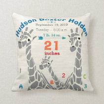 Giraffe Family Baby Boy Birth Record Birth Stats Throw Pillow