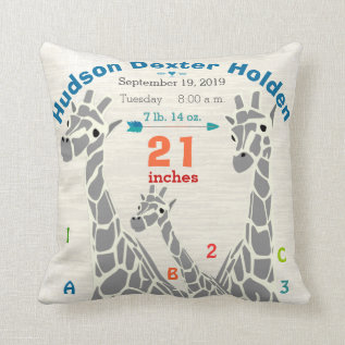 Giraffe Family Baby Boy Birth Record Birth Stats Throw Pillow at Zazzle