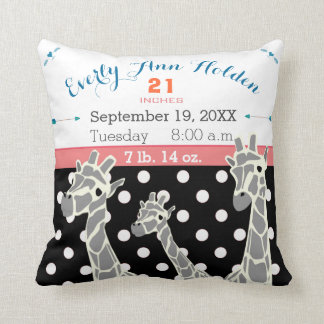 Giraffe Family Baby Girl Birth Record Birth Stats Throw Pillow