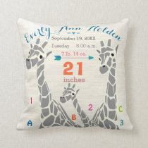 Giraffe Family Baby Girl Birth Record Birth Stats Throw Pillow