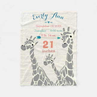 Giraffe Family Baby Girl Stats Birth Record Fleece Blanket