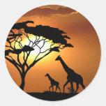 giraffe family classic round sticker