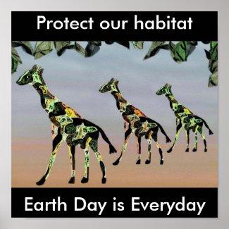 Giraffe Family Habitat Poster print