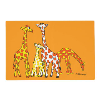 Giraffe Family In Orange and Yellow Placemat