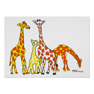 Giraffe Family In Orange and Yellow Poster