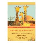 Giraffe Family Kids Birthday Party Card