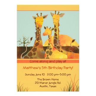 Giraffe Family Kids Birthday Party Invitation