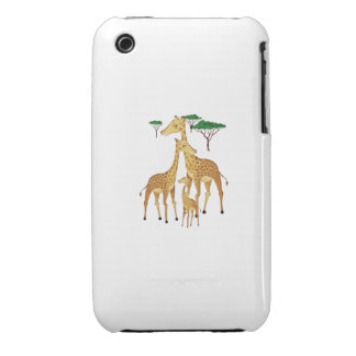 Giraffe Family with Acacia Trees iPhone 3 Case-Mate Case