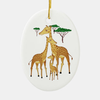 Giraffe Family with Acacia Trees Ceramic Ornament