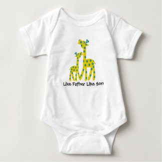 Giraffe Father Son Customizable Text Baby Bodysuit