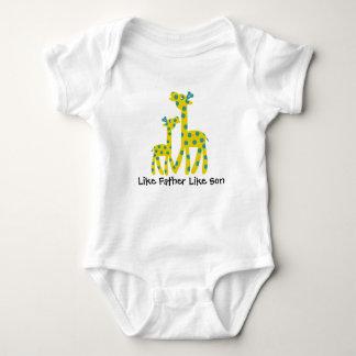 Giraffe Father Son Customizable Text Baby Bodysuit