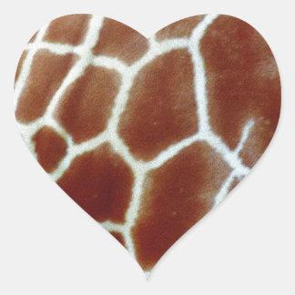 giraffe faux fur heart sticker