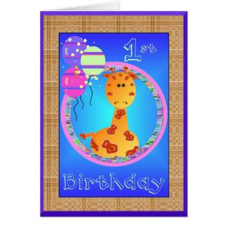 Giraffe first birthday card template