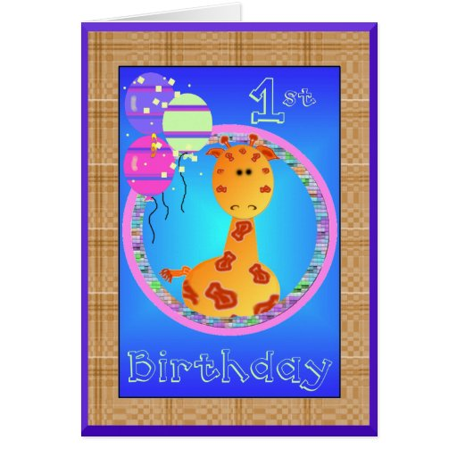 first birthday board template - giraffe first birthday card template zazzle