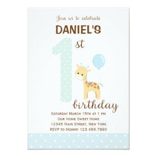 Giraffe First Birthday Invitation (Blue)