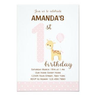 Giraffe First Birthday Invitation (Pink)
