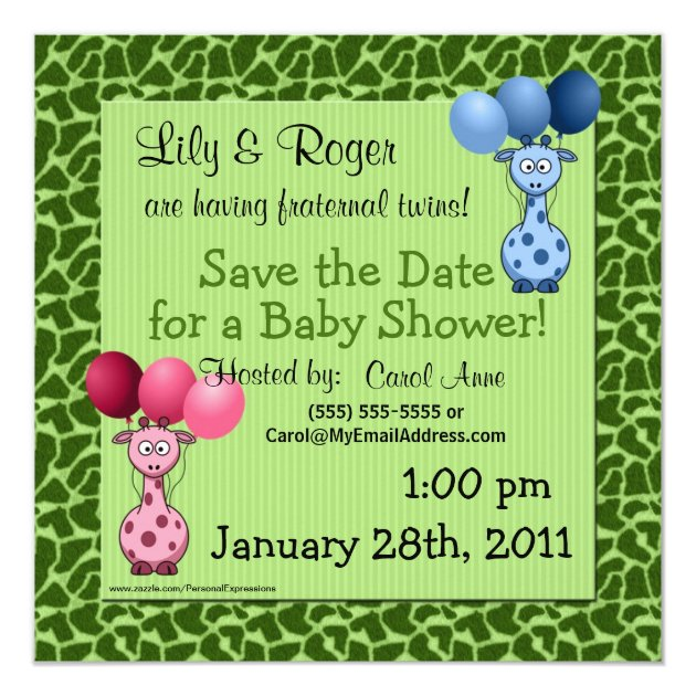 Giraffe Fraternal Twins Baby Shower Save the Date Card ...