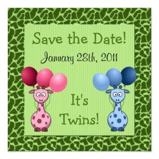 Giraffe Fraternal Twins Baby Shower Save the Date Invitation