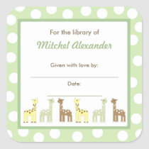 Giraffe Friends Baby Shower Bookplate book plate