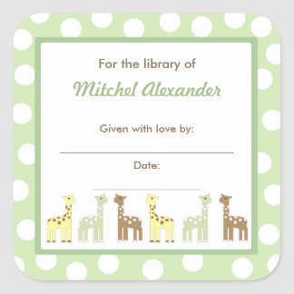 Giraffe Friends Baby Shower Bookplate book plate
