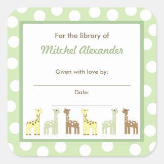Giraffe Friends Baby Shower Bookplate book plate Square Sticker