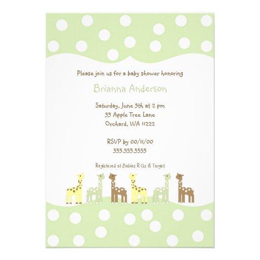 wording to this modern gender neutral giraffe baby shower invitation