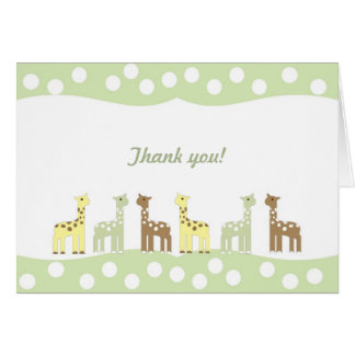 Giraffe Friends Baby Shower Thank You Note neutral Stationery Note Card