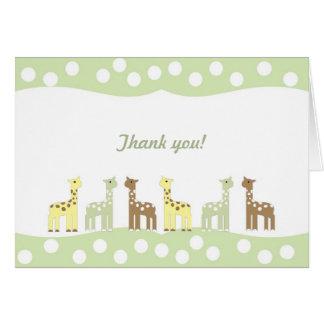 Giraffe Friends Baby Shower Thank You Note neutral Card